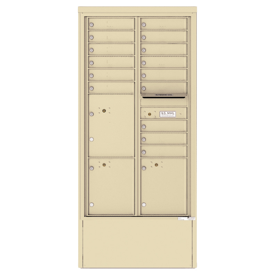 15 Tenant Doors With 3 Parcel Lockers And 1 Outgoing Mail Freestanding Depot Enclosure With 4c Horizontal Mailbox Unit H4c16d 15 D National Mailboxes